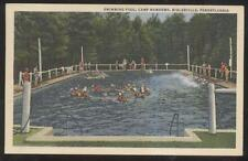 POSTCARD BIGLERVILLE PA/PENNSYLVANIA CAMP NAWAKWA SWIMMING POOL 1930'S