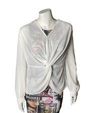 Active USA White Sheer Blouse Shirt Work Size Large
