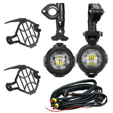 2x 40W LED Motorcycle Headlight Fog Spot Light Auxiliary Lamps & Wiring for BMW