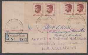 MACQUARIE ISLAND 1950 Registered HMAS Labuan cachet