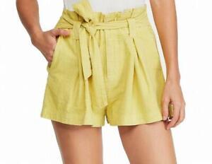 Free People High Waist Paper Bag Shorts Cotton Yellow US 6 UK 10 M BNWOT NEW