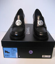 CHANEL Black Calfskin Block Heels Loafers With Silver Medallion Size 36.5