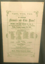 Fireman's Ball Program: Wide Awake Hose Co. No. 1 Milford 1858