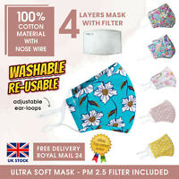 Adult 100% Cotton 4 Layers Nose Wire Face Mask PM2.5 Filter Reusable Washable