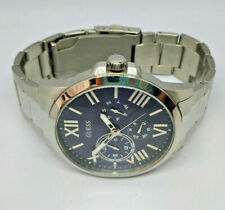 Mens Guess Orbit Stainless Steel Multi Navy Blue Dial Watch W1184G4
