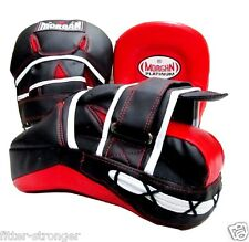 MORGAN PLATINUM LEATHER CURVED FOCUS MITTS boxing gloves PUNCH PADS ANBF COACH