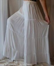 white pants gauchos ruffle tiers wide -M L XL 1X  ZS250
