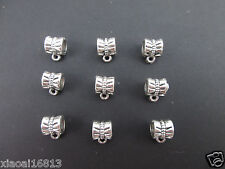20pcs Tibetan Silver Big Hole Spacer Beads Dangle Bails Jewelry Connectors