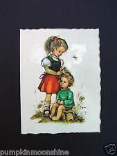 Unused Kruger Greeting Die-Cut Card Girl Combing Sisters Hair Printed in Germany