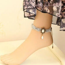 Ankle Anklet Barefoot Sandal Foot Jewerly Gothic Flower Lace Chiffon Bead Drop