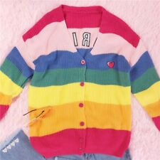 Sweet Lolita Vintage Rainbow Love Letter Embroidery Sweater Cardigan Woman Tops