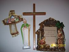 4 RELIGIOUS ITEMS, STATUES / FIGURINES, CROSS, CROSSES, PICTURE FRAME, FREE SHIP