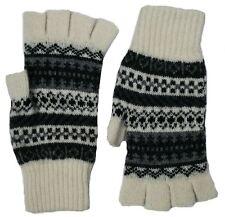 Ladies Lambswool Fingerless Gloves - Black & White -  Made in Scotland