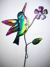 Colorful Metal Glass Hummingbird Yard Garden Plant Stake Outdoor Decor Art 21""