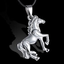 Fashion Horse Stainless Steel Pendant Necklace Leather Men Unisex Xmas Jewellery