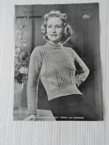 Original 1930's Knitting Pattern Lady's Jumper Hema 421 Free P & P