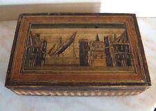 Boite marqueterie de paille bateau décor lacustre  - XVIII / XIX siècle