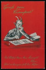Devil Krampus play cross words original old 1910s postcard