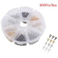 800Pcs/Box Mini Eye Pins Hook Eyelets Screw Threaded Jewelry Pendant Clasps Diy#