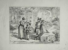 61 x 44 cm  Pinelli Incisione Originale Carrettieri Roma 1833/1837