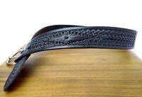 Vtg Rugged Casual Black Tooled Leather Belt Western Biker Cowboy Men Womens S 30