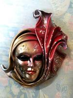 Fuoco - Maschera veneziana artigianale in ceramica e cuoio