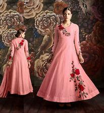 PINK READYMADE SIZE 42 SILK ANARKALI SALWAR KAMEEZ SUIT PARTY DRESS LADIES DEN