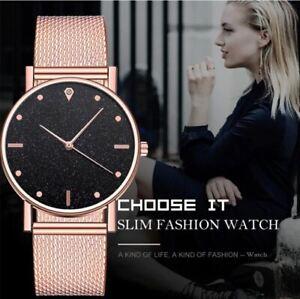 Women's Large Face, Black Crystal Sand Dial, Rose Gold 3D Mesh Strap Dress Watch