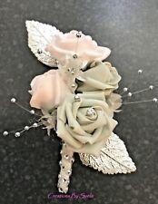 Ladies Pin On Corsage~Pale Pink/Pale Grey Foam Roses/Diamanté~Stunning
