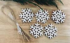 wooden hanging Snowflake Decoration Rustic Nordic White 5x snowflakes xmas 4 cm