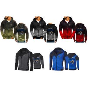 Los Angeles Rams Hoodie Long sleeves Full Zip Sweatshirt Jacket Casual Coat