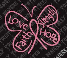 Breast cancer awareness butterfly car vinyl decal sticker pink love faith hope
