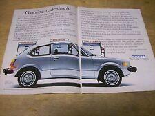 Original 1978 Honda Civic 2-Page Magazine Ad - Gasoline Made Simple