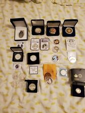New Listing21 Silver Coin Lot .925 & .999 Proofs Colorized American Eagles Gold Maple Ngc