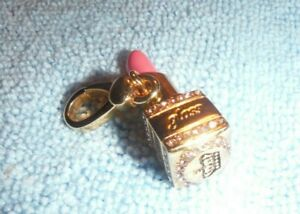 JUICY COUTURE LIPSTICK LIPGLOSS CHARM 14K GOLD PINK CRYSTALS RARE - YJRU0871