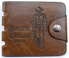 Wallet Bailini Bifold Genuine Leather Brown X-Capacity Snap Closure Billfold Men