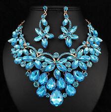 Floral Teal Austrian Cystal Rhinestone Necklace Earrings Set Prom Bridal N894