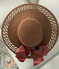 Vintage Brown Wool Felt Hat with Cut-Out Design & Hat Pin ~ 1940s -1950s