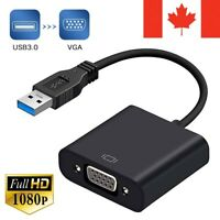 USB 3.0 to VGA Adapter Cable Converter Audio Video 1080P PC For TV HDTV Monitor