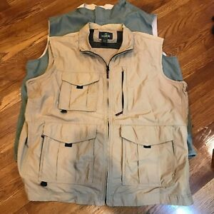 RedHead Red Head Utility Fishing Hunting Vest Size XL Khaki Tan & Olive Lot of 2