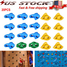 20X Climbing Holds Set Rock Wall Stones with Climbing Rope Ladder Kid Child Us