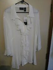 MAGGIE BARNES WOMENS WHITE DESIGN BLOUSE TOP SIZE 2X 22/24W NEW WITH TAGS NWT