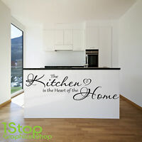THE KITCHEN IS THE HEART OF THE HOME WALL STICKER QUOTE - WALL ART DECAL X176