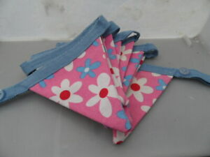 BUNTING  9 Pennants Pink Flower Cotton  Double Sided  HAND CRAFTED HOME DECOR