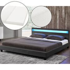 Polsterbett Doppelbett mit LED Bettgestell Kunstlederbett Matratze 160 x 200 cm
