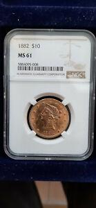USA  1882 P  Coronet  Head  Gold  $  10  Eagle  Liberty  Head  NGC  MS 61  TOP