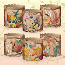 Set 6 Easter Parchment Baking Paper Molds Paska Kulich Panettone Cake Victorian