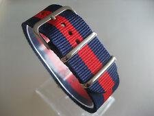 Relojes pulsera nailon 24 mm azul azul rojo banda otan textil hebilla
