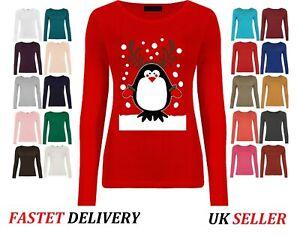 Unisex Womens Xmas CHRISTMAS T Shirt Novelty Santa Reindeer Snowman Tee TOP
