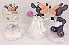 Lot Disney Musical Snowglobe Mickey Minnie Mouse Wedding Bobble Head Kissing HTF